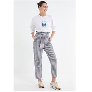 UO Gianna Striped High-Rise Paperbag Pant